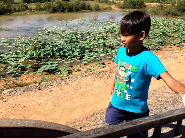Our little adopted guide with some lotus blossoms in the background