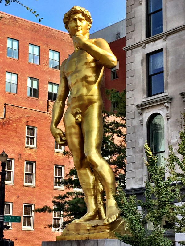 This caught Ryan's eye! There's a big gold David in the museum district.
