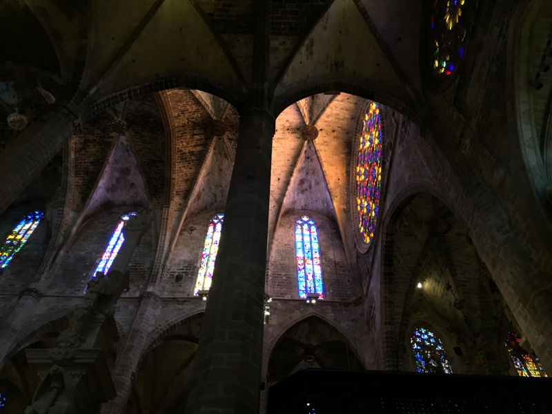 Gothic arches and stained glass abound here.