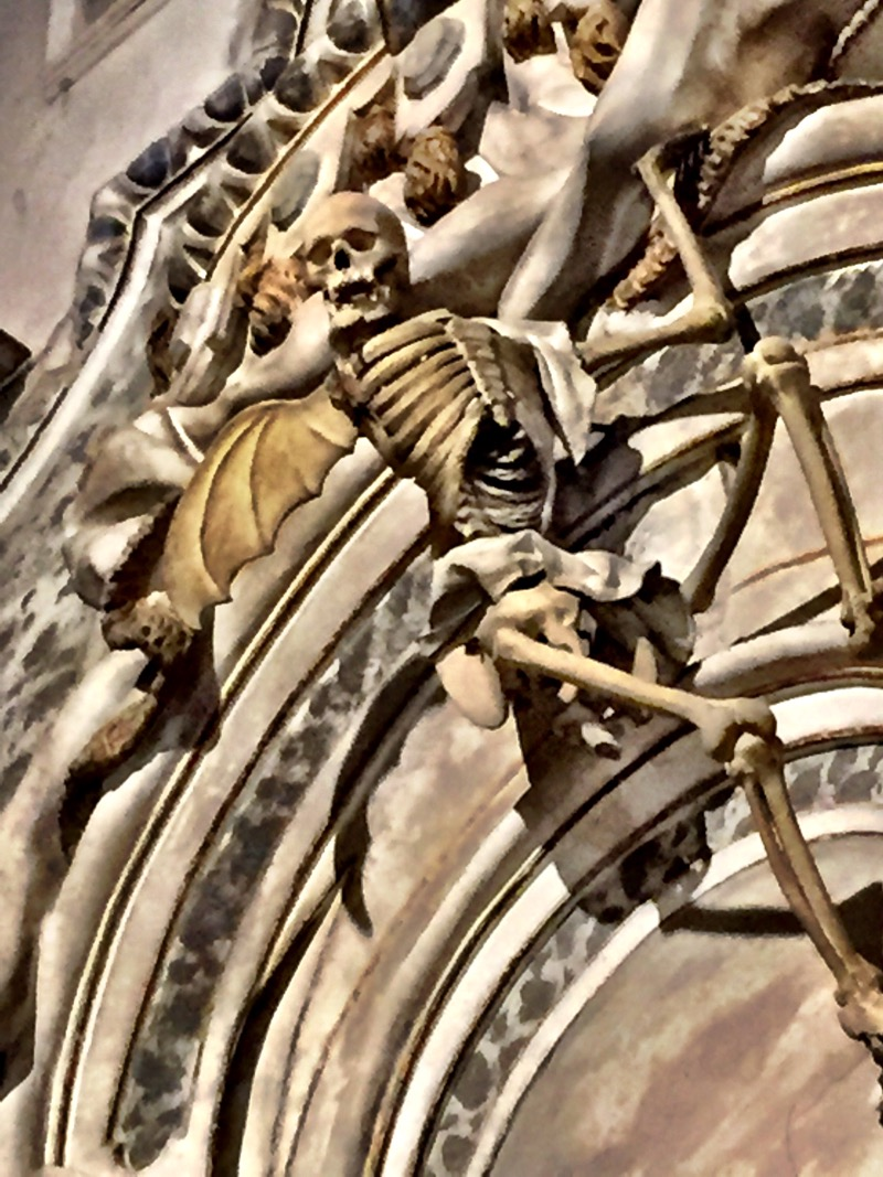 There were plenty of ghoulish delights within the cathedral, including this skeletal angel over the nativity.