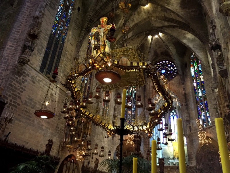 This wrought iron baldachin over the altar was designed by renowned architect and designer, Antoni Gaudí.