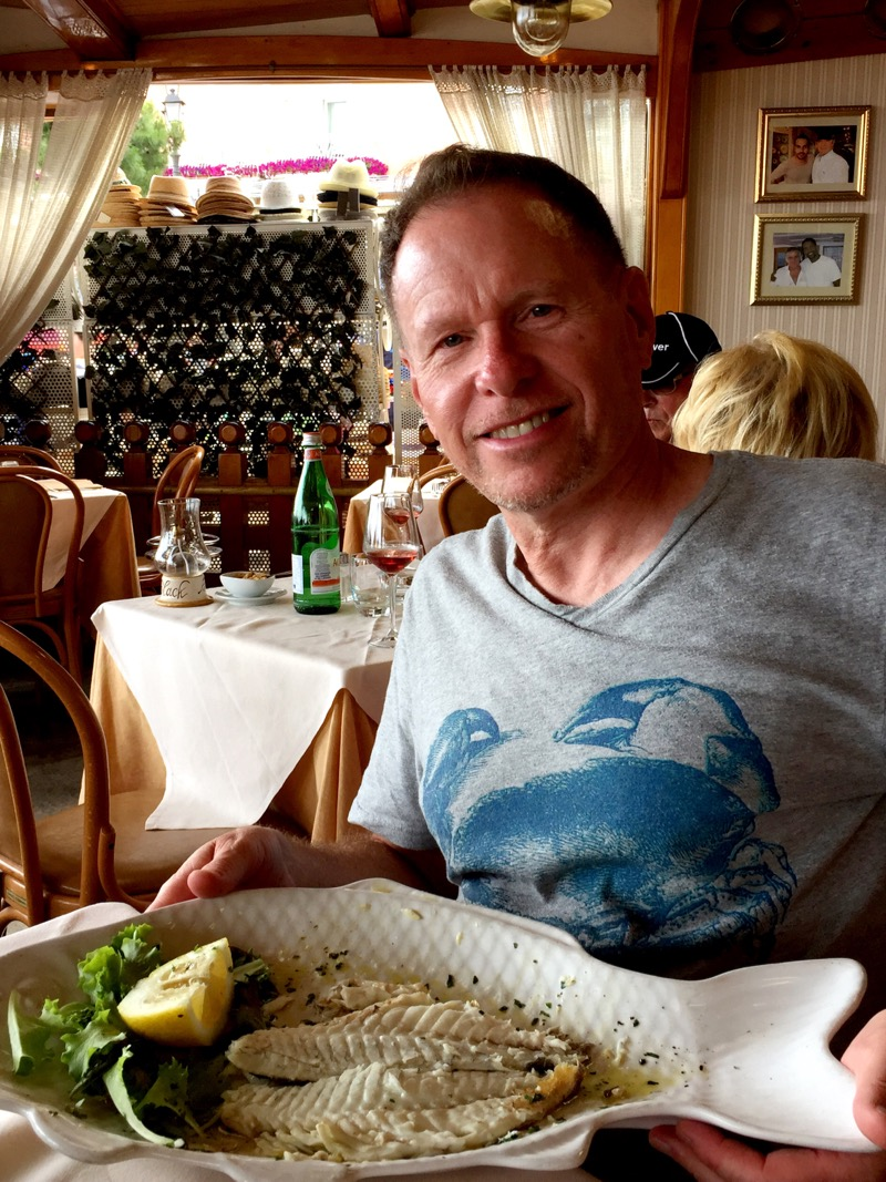 Back in Positano, we find that we aren't feeling stuffed so it must be time to eat again! Clint had some dorado fish.