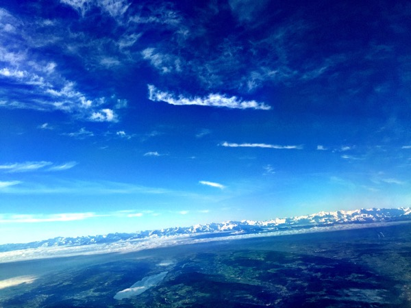 Descending into Zürich with a great view of the Alps.