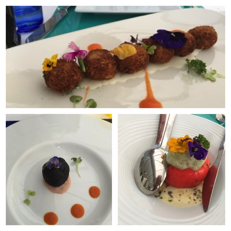 "Some of our dishes from our dinner - clockwise from top: grouper fish balls; Caprese ""My Way""; cuttlefish and salmon bonbon with red pepper sauce"